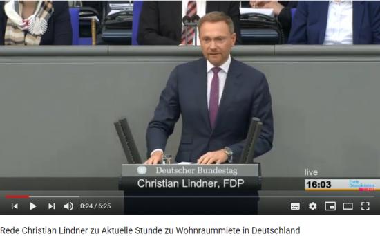 Christian Lindner bei der Debatte über Mieten in Deutschland